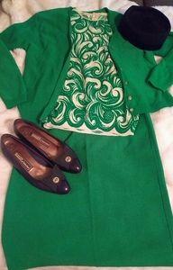 Vintage Green Dreams- 3 pc knit skirt suit